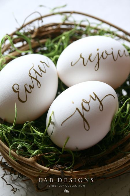 Easter Eggs with Gold Lettering #eastereggs #calligraphy