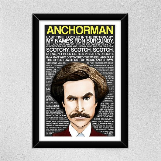 Anchorman Poster // Will Ferrell -- Ron Burgundy // Quotes -- Christmas Gift on Etsy, $18.00