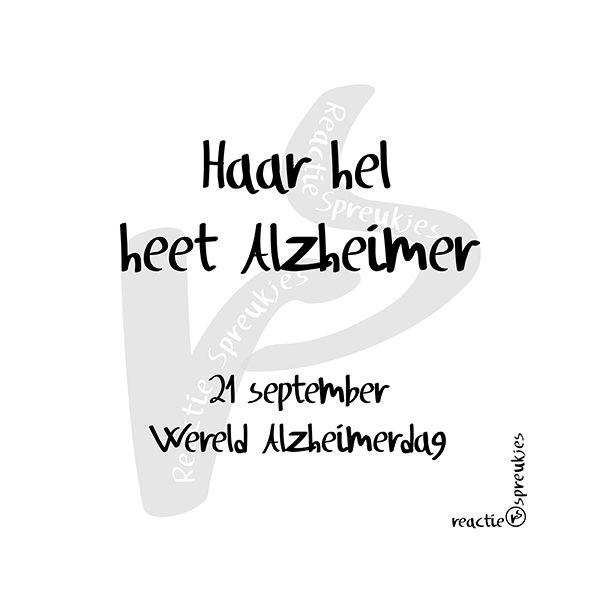 21 September: Wereld #Alzheimerdag. Stel, je wordt wakker en je bent in een vreemd land, helemaal alleen. Je kent de mensen niet en je verstaat en spreekt hun taal niet. Je hebt geen idee wat ze bedoelen, ze worden ongeduldig en kijken boos. Je wilt maar één ding: naar huis! Naar je familie. En dan verschijnt er een vriendelijk gezicht, een rustige stem, een arm om je heen. Daar is iemand die jou begrijpt, je naam weet en voor even die angst wegneemt. Voor even... (© Heidi, Reactie…