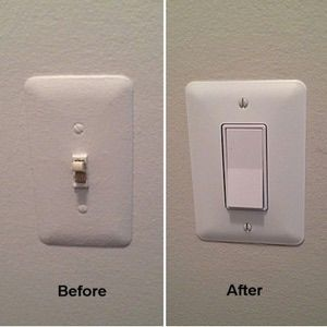 Replace a single pole toggle style light switch with a rocker or paddle style switch and shows the use of an oversize cover plate