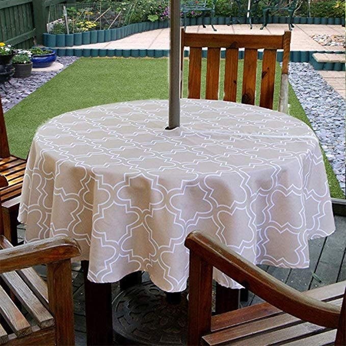 Texstyles Round Tablecloths Outdoor Tablecloth With Umbrella Hole