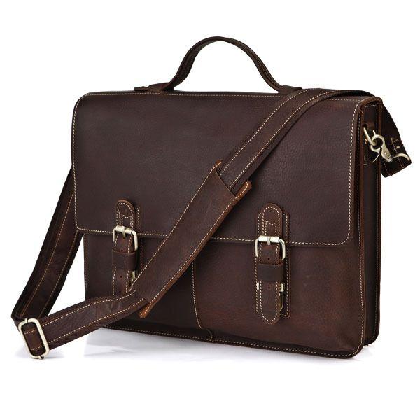 """Vintage Handmade Crazy Horse Leather Briefcase, Messenger, 15"""" Macbook / 14"""" Laptop Bag"""