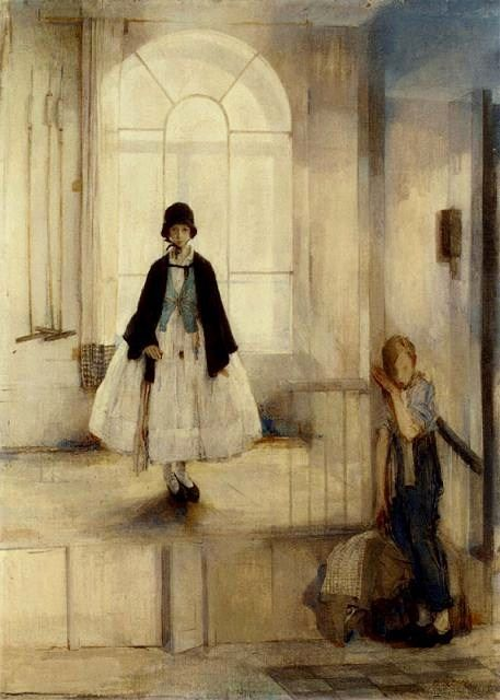 """Madeline Green (1884-1947) British Painter.  """"Two Children in a Stable"""""""