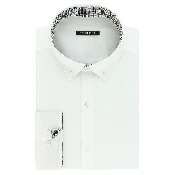 Men's Van Heusen Fresh Defense Slim-Fit Dress Shirt, Size: 16.5-34/35, White Oth