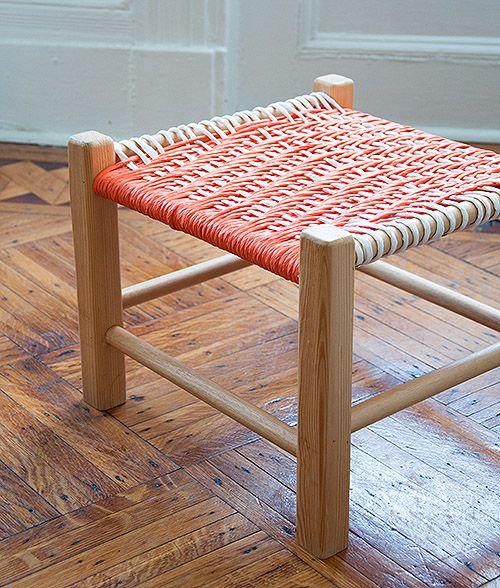 fun footstool.  The tutorial is for the woven top, but the frame just looks like 2x2's and dowels.