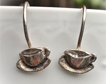 Outstanding coffee cups. Pending cups coffee silver. Earrings cups coffee. Earrings hang cups coffee silver.