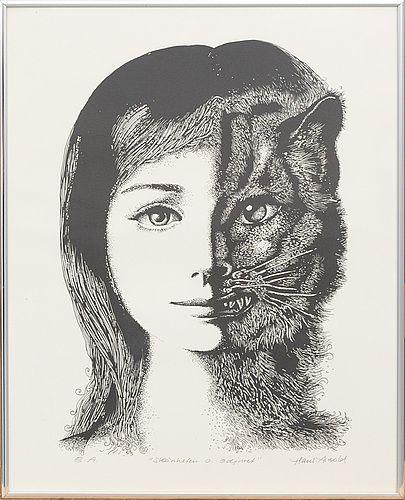 """HANS ARNOLD  Litografi, signerad, E.A.  """"Skönheten och odjuret"""". Bildstlk 49x 39 cm."""