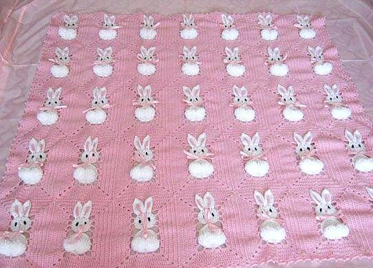 crochet baby blanket with rabbits