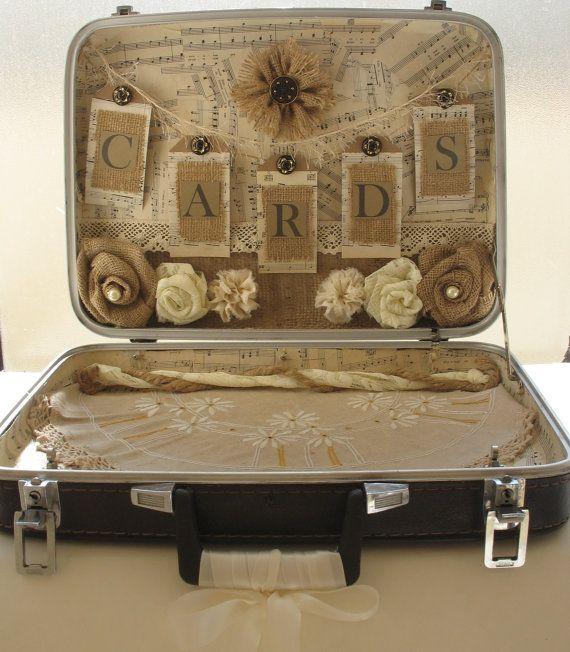 Vintage Suitcase Card Holder for Rustic Wedding-Vintage Wedding-Shabby Chic Wedding-Country Wedding via Etsy
