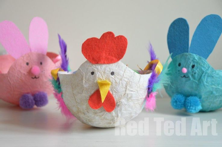 Make these for or with your kids: Easter Craft Basket - recycling Tissue Paper from old gifts.