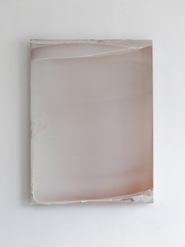 Matt McClune - Untitled (white) - 2012, Pigment and mixed media on anodized aluminum, 100 x 75 mm
