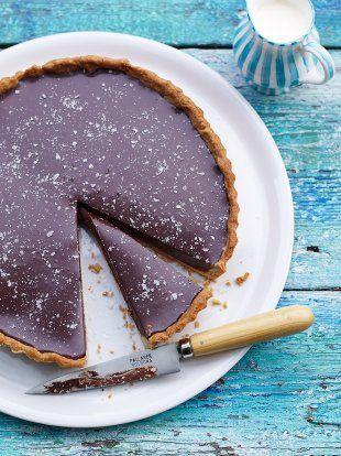 Rich chocolate tart with salt flakes   Jamie Oliver