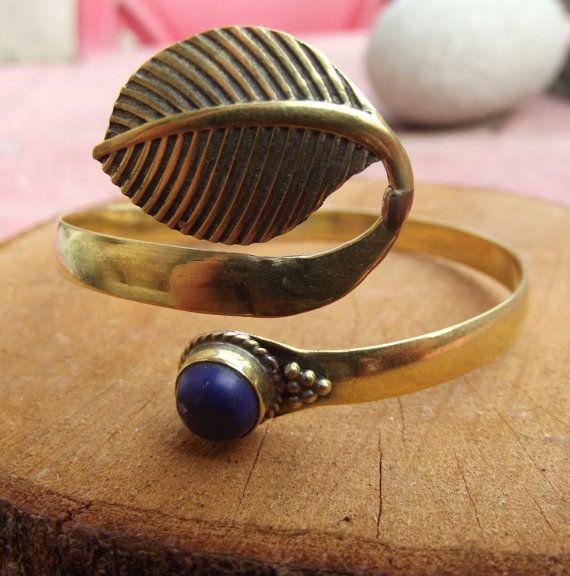 Brass bracelet with lapis lazuli stone brass by silveringjewelry