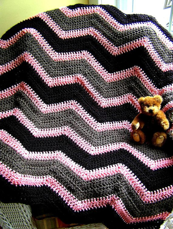 chevron zig zag baby blanket afghan wrap shawl crochet knit toddler wrap ripple stripes BERNAT WAVERLY yarn pink brown USA handmade