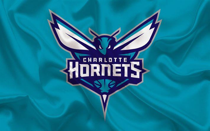 Herunterladen hintergrundbild charlotte hornets, nba, basketball, usa, basketball club, charlotte hornets-emblem, blaue seide