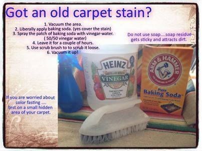 Cleaning - How To Remove - Old Carpet Stain. White vinegar, baking soda, water, scrub brush