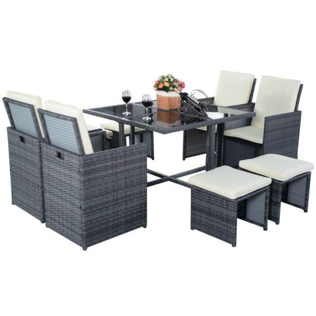 Rattan Furniture Set 9 PCS Sofa Garden Outdoor Patio PE Wicker Cushioned Lawn