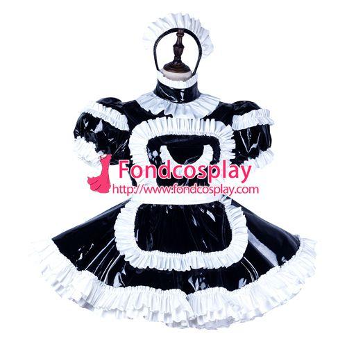 Sissy maid pvc dress lockable Uniform cosplay costume Tailor-made[G2245]