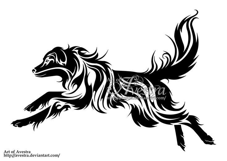 australian shepherd dog tribal logotype by avestra wall ideas pinterest kunst hunde und. Black Bedroom Furniture Sets. Home Design Ideas