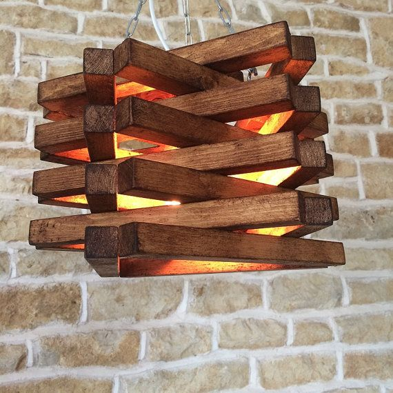 Rustic Ceiling Light Pendant Fixture Suspended Lamp Shade Wood Oak Unusual Unique Modern Stylish