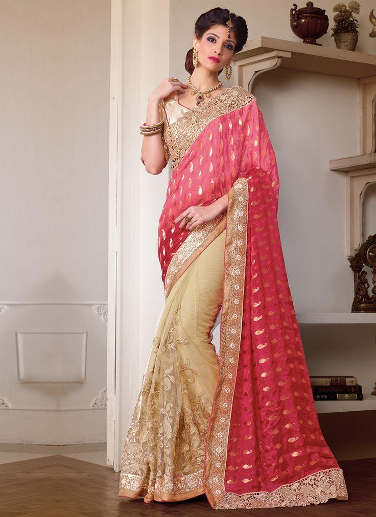 Pink Wedding Wear Indian Sarees Shopping Visit: http://www.indiansareestore.com/sarees