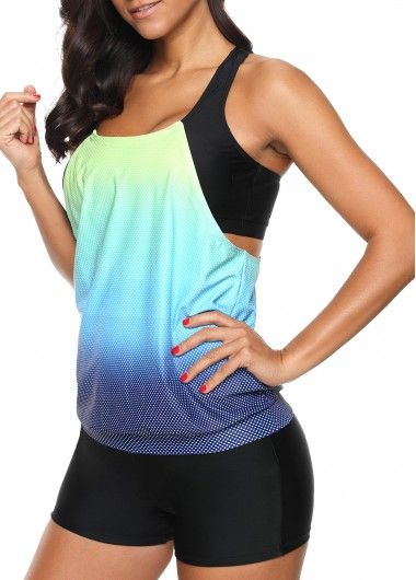 c1220cd146 This would make for great workout clothes! Racerback Cyan Swimwear Top and  Shorts | modlily.com - USD $29.76