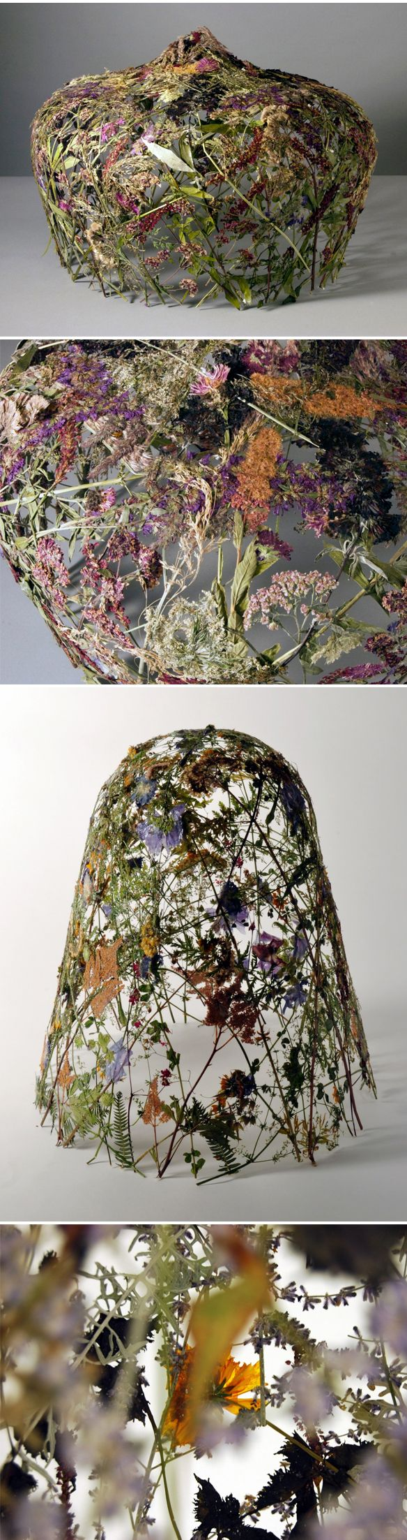 "Ignacio Canales Aracil | ""Pressed flowers. Just flowers. Spanish artist Ignacio Canales Aracil collects flowers from the private gardens of the most renowned landscape designers in Europe and then presses them into large molds. He gets no help from adhesives… just a month long drying process and the loving, miraculous touch of mother nature. When they're complete he adds a spray of light varnish to protect them from moisture. So amazing… delicate and stunningly beautiful."""