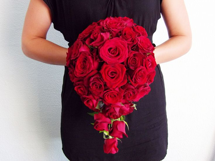Red Rose Cascade Bouquet First Impression Flowers Bridal Melbourne Wedding Florist