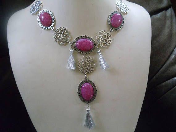 Cherry Statement Neclaces Vintage Ethno Silber/pink