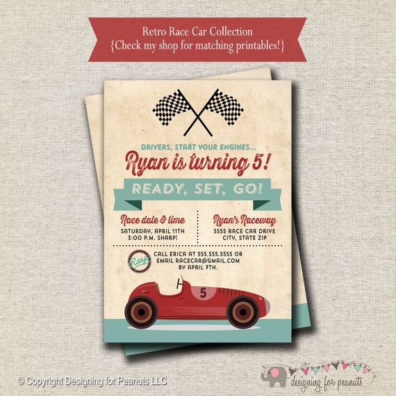Best 25 Vintage racing ideas – Free Printable Race Car Birthday Invitations