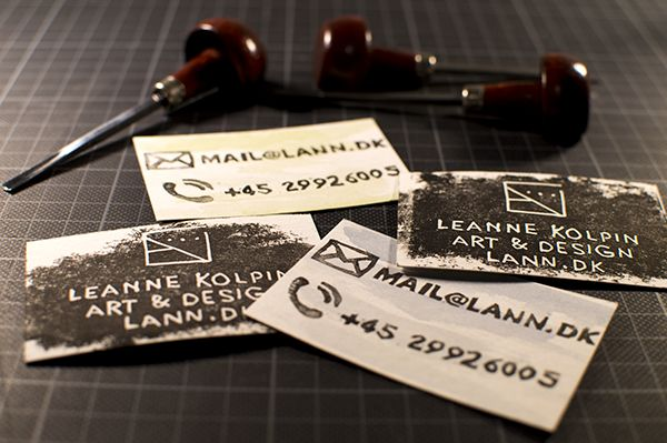 Hand-printed personal business cards.