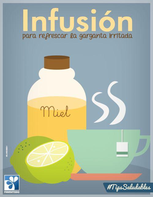 Mezcla limón, miel y manzanilla en infusión para refrescar la garganta irritada #TipsSaludables