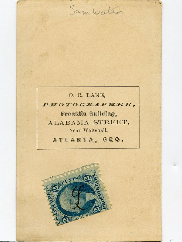 """ATLANTA PHOTOGRAPHERS - O.R. LANE, PHOTOGRAPHER, FRANKLIN BUILDING, ALABAMA STREET NEAR WHITEHALL, ATLANTA. CDV FROM 1865 OF SAM WATERS. REVENUE STAMPED WITH MANUSCRIPT """"L"""" ATTACHED TO CDV. From the J. Fred Rodriguez Atlanta Collection."""