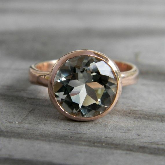 Ready To Ship Size 7  Glam Girl Rock Fetish in 14k Rose Gold with Prasiolite Green Amethyst Gemstone Solitaire Ring