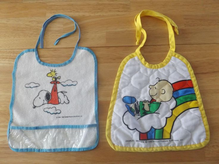 Vintage Peanuts Snoopy Woodstock Charlie Brown Bibs  / Two Baby Bibs / United Features / 50's by jandhcollectibles on Etsy