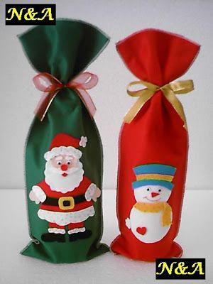 N&A artesanatos: Embalagem para Vinho de Natal em Feltro