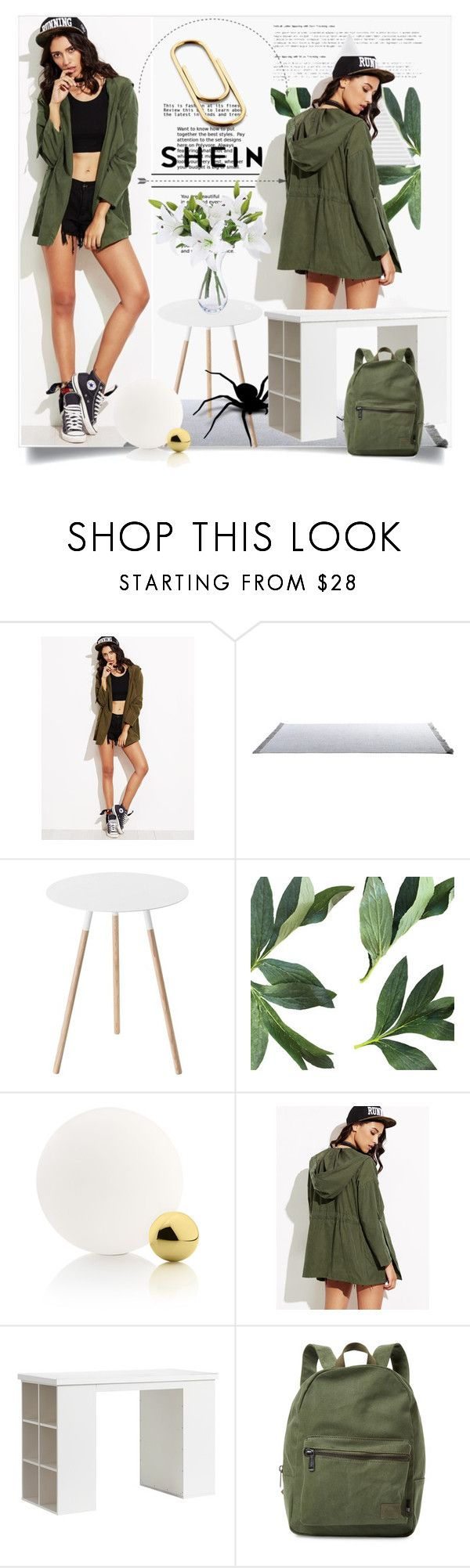 """""""Coat (shein)"""" by ilona-828 ❤ liked on Polyvore featuring Yamazaki, Flos, PBteen, Herschel Supply Co., Home, polyvoreeditorial and shein"""
