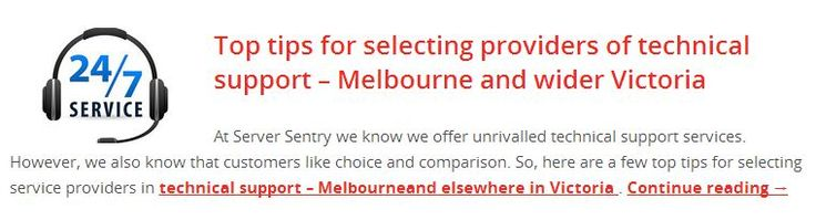 Top tips for selecting providers of technical support – Melbourne and wider Victoria Read more, http://www.serversentry.com.au/top-tips-selecting-providers-technical-support-melbourne-wider-victoria/