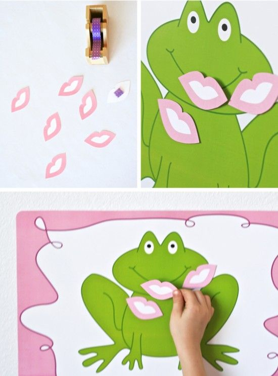 Pin the kiss on the frog printable for Princess Party. So cute!