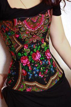 Corset made with Ukrainian babushka fabric
