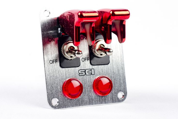 Aircraft Style Double Flip Switch Panel with Red LEDs