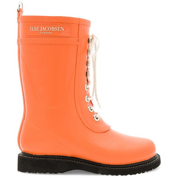 ILSE JACOBSEN Mid Calf Rubber Boot ($80) ❤ liked on Polyvore featuring shoes, boots, mid-calf boots, mid calf lace up boots, waterproof rubber boots, wellies boots, wellington rubber boots and laced boots