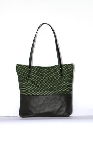 Black Leather Tote Bag with Green Cotton Print