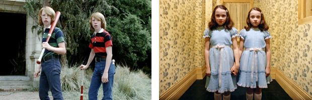 «Сияние» / The Shining Стэнли Кубрик, 1980 Чуть ли не самый излюбленный и узнаваемый объект для цитирования в первом сезоне American Horror Story — «Сияние» Стэнли Кубрика про проклятый отель, где слетел с катушек герой Джека Николсона. В первой же серии в кадр входят мальчики-близнецы с бейсбольной битой — привет зловещим сестричкам-призракам, напугавшим малыша Дэнни в гостиничном коридоре. Отсюда же явно взялась красотка, под маской которой скрывается совсем не юная женщина-труп.