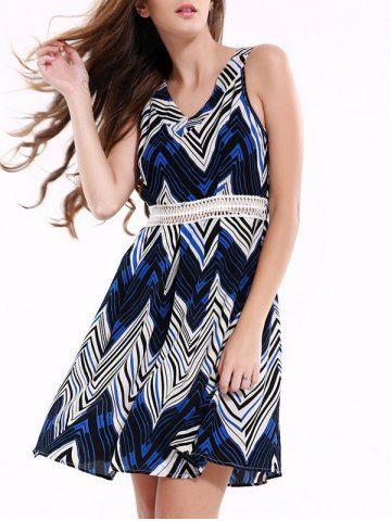 Stylish Sleeveless Zig Zag Dress For Women