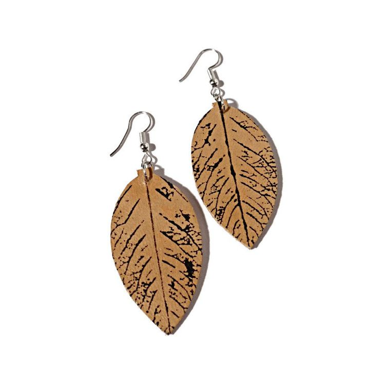 Handmade Recycled Leather Rose Leaf Earrings
