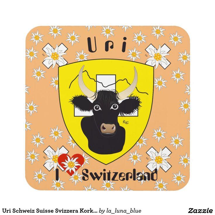 Uri Schweiz Suisse Svizzera Kork-Untersetzer Getränk Untersetzer