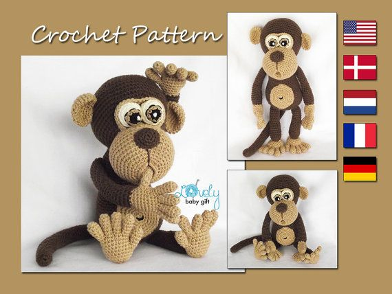 This is a DOWNLOADABLE PATTERN and NOT the monkey toy.  Pattern is written in ENGLISH (in US terms), DANISH, DUTCH, GERMAN and FRENCH languages.