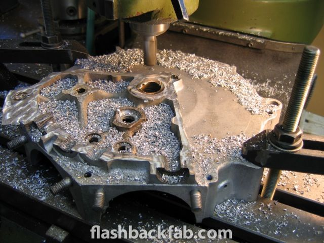 Machining off the stock crankcase castings.