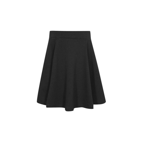 George Girls School Jersey Skater Skirt ($6.53) ❤ liked on Polyvore featuring skirts, black, skater skirt, circle skirts, elastic waist circle skirt, jersey skater skirt and flared skirt